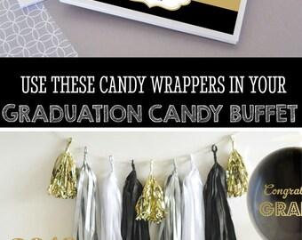 College Graduation Party Favors Personalized Graduation Favors Graduation Candy Bar Wrappers COVER Graduation Party Ideas (EB4001GZ) 24| pcs