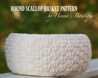 Crochet Basket Pattern - Round Scallop Basket - PDF