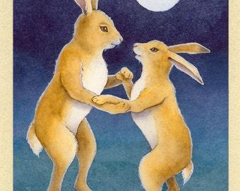 Rabbit Couple Dancing (Moon Dance) Greeting Card