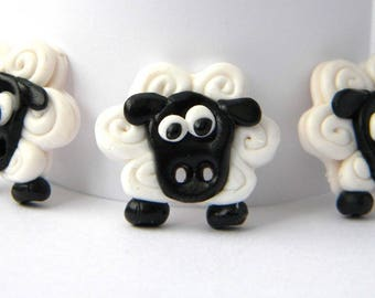 Handmade black and white sheep button