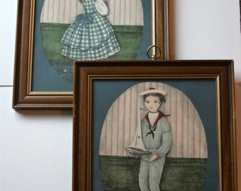 CLEARANCE. Framed Folk Art Prints by Carol Blanchard, Portraits of Angel and Chris, Victorian Era, Sailor Suit & Gingham Dress