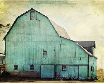 Aqua Barn Photo, Rustic Farmhouse Photography, Mint Turquoise Teal Country Picture, Fixer Upper Style Print, Landscape Home Decor Wall Art