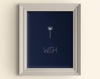 Wish Dandelion art print Make a wish Wish on a star Inspirational Quote Art Print Typography Art Print Housewarming Gift Kitchen Art Print