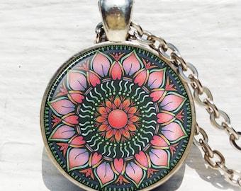 Pink Lotus Sri Yantra pendant, Sri yantra necklace, Lotus mandala, Buddhist Lotus, Buddhist necklace, Sacred geometry jewelry