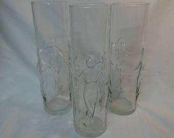 Naked Women Glasses-9in Tall