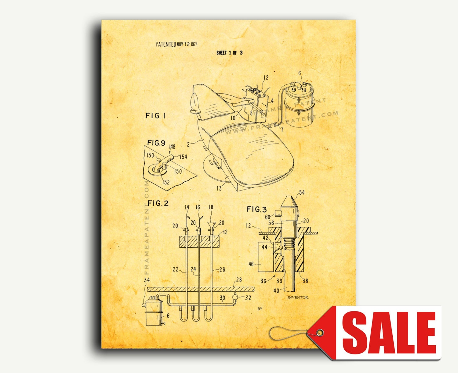 Patent Art Dental Office System Patent Wall Art Print