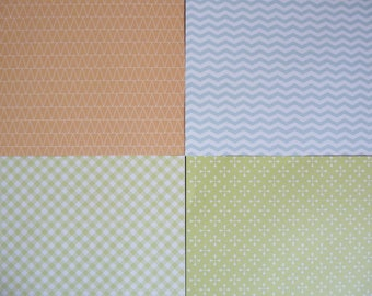 set of 4 sheets of 20 x 20 cm: geometric
