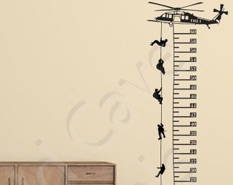 Helicopter & Soldiers Growth Chart Wall Decal