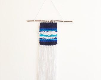 Mini Blue Weaving // Woven Wall Weaving, Wall Hanging, Artwork, Boys Nursery, Handwoven Decor, Fiber Art, Textile Art