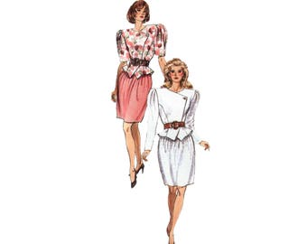 80s uncut Bubble Skirt pattern Skirt Suit pattern Big Shoulder Jacket pattern vintage Dynasty 30.5-23-32.5 Butterick 6151
