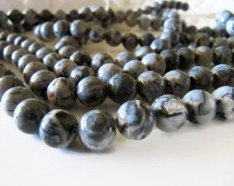 10mm Scenery JASPER Beads in Gray, Brown, Tan, 1 Strand, 38 Pieces, Round Gemstones