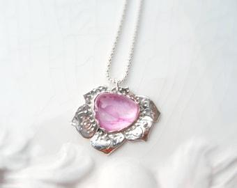 Jahrgang rosa Mohn - Glas Cabochon Silber Anhänger, Halskette - Premium Argentium Sterlingsilber, Unikat