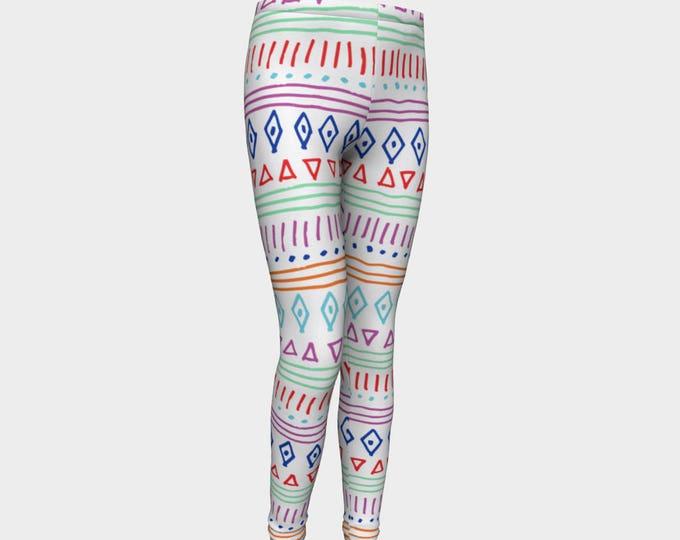 Girls Leggings, Tribal Pattern Leggings, Girls Yoga Leggings, Leggings, Girls Clothes, Dance Leggings, Girls Yoga Pants, Gift for Girl