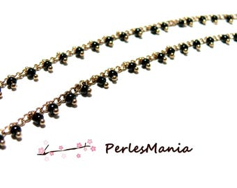 50 cm chain 2mm black seed beads and gold, DIY