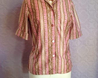 1950s Pink and Olive Striped Blouse by St Michael.  Camp Shirt with Roll up Sleeves and Winged Collar