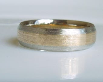 14Kt Gold Wedding Band 2 Tone Brushed Finish Yellow and White Gold - Handmade
