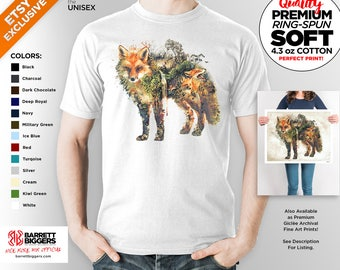 T Shirt of my Fox Wildlife Surreal Nature Original art clothing design for Men and Women by Barrett Biggers
