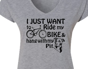 Bicycle Dog T-shirt-Pit Bull T-shirt-BIKE and HANG with my PIT t-Shirt,mountain bike tee,dog tshirt,road bike t-shirt,bicycle gift,for her
