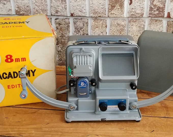 Vintage 1950s Academy 8mm Film Editor and Projector by Ohnoya Shoten of Japan w/ Box and Case - Fully Tested 100% Working! Super Clean Too!