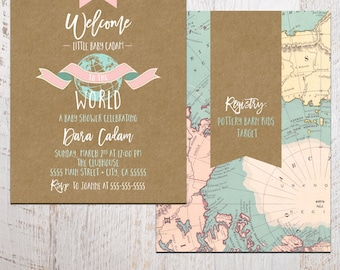 Baby Shower Invitation - Welcome to the World Baby Shower Invitation - Printable 5x7 shower invite - world baby shower (baby shower no. 03b)