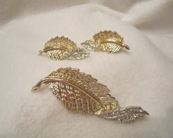 Vintage Sarah Coventry Brooch And Earrings, A Detailed Gold-Silver Tone Curled Leaf Studded with Crystal Rhinestones