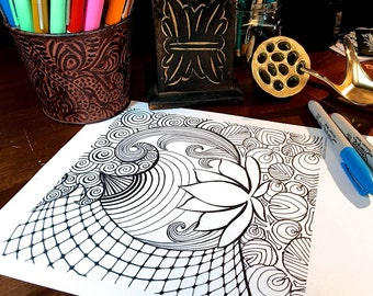 Mindfulness Coloring Pages Pdf : Mindful coloring etsy