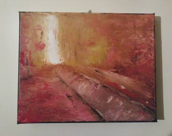 abstract trail palette knife autumn colors 8x10 stretched canvas