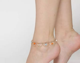 Gold-Toned Pair of Beaded Anklet