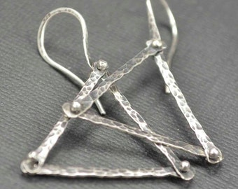 Sterling Triangle Earrings, Hammered Earrings, Raw Silver, Metalsmith Jewelry
