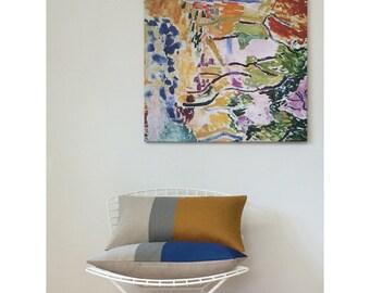 Colorblock Pillow Cover in Royal Blue, Stone Grey & Natural Linen Stripes (12x20) by JillianReneDecor - Modern Home Decor FW2015