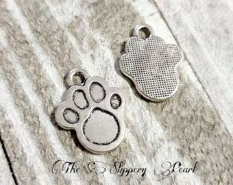 Paw Charms Paw Print Charms Silver Paw Charms Dog Print Charms Dog Charms Animal Charms Silver Charms 6 pieces