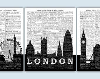 London Art Print, London Cityscape, London Gift, London Poster, London Wall Decor, London Skyline, London Wall Art, London UK Decor