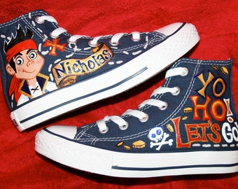 JAKE and the NEVERLAND Pirates Inspired Custom CONVERSE High Tops Any Size