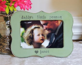 Daddy's little Peanut frame Fathers day gift boy dad papa daddy apa Personalized Custom picture frame daughter father bride wedding gift