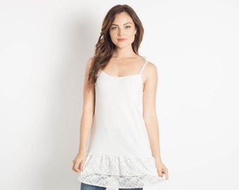 Ivory Lace Camisole Shirt Extender