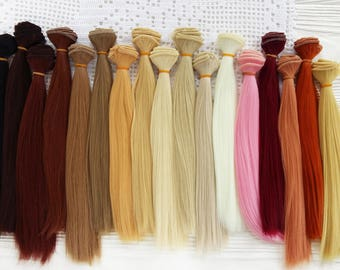 "25 cm (10"" inches). Hair for dolls. Straight hair. Tress. Synthetical hair. Weft. Hair for doll wigs. Art dolls. Synthetic doll hair"
