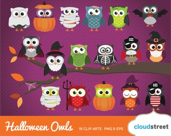 BUY 2 GET 1 FREE cute halloween owl clipart / halloween owl clip art / halloween clipart / halloween clip art / commercial use ok