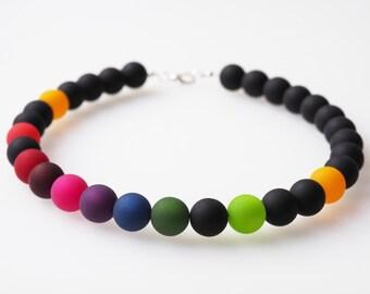 rainbow necklace black polaris big pearls