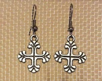 Silver with black cross earrings