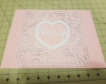 Always, valentine, decor, decoration, home decor, wall art, paper art, papercut, love, heart, white