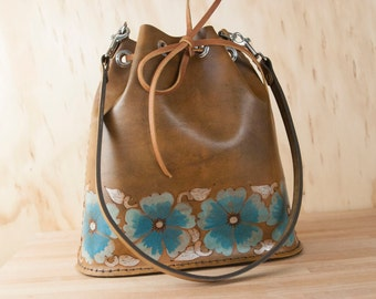 Floral Bucket Bag - Small Leather Tote or Backpack in the Belle Pattern with Wild Roses - Turquoise, Silver and Antique Brown