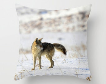 Coyote Pillow, Throw Pillow, Cabin Decor
