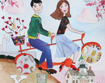 Custom Couple Portrait - Love is in the Air - 10x10 Mixed Media Travel Illustration