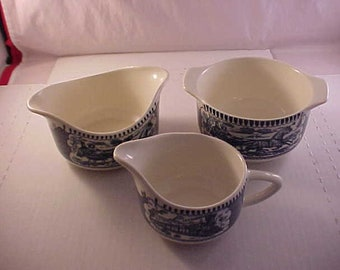 Currier & Ives Sugar and Creamer Gravy Bowl by Royal Made in USA - The Old Grist Mill - Blue and White