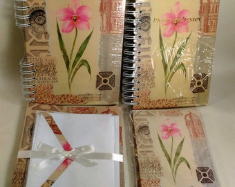 4 Piece Stationary Set/Journal, Address Book, 12 Note Cards With Envelopes And 24 Sheets Of Writing Paper With Envelopes In A Floral DesignD