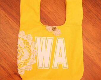 Yellow netball bib bag reversible - unique gift netball player, team gift, gift for mum or bridesmaid - bookbag, tote – custom available