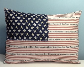 American Flag Pillow, 4th of July, patriotic throw pillow cover, God bless America, red white blue, Americana decor, primitive pillow, USA