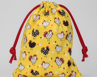 Chickens, Chickens Party, Chickens Birthday, Party Bags, Favor Bags, Treat Bags, Drawstring Bags, Goodie Bags, Party Supplies, Set of 5