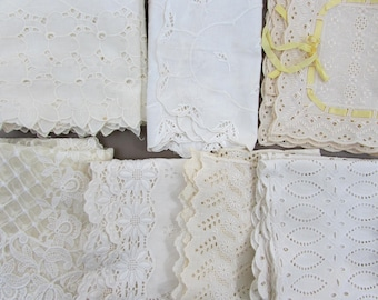 Vintage Eyelet Fabric & Eyelet Doily Lot for Craft Re-use and Doll Clothes