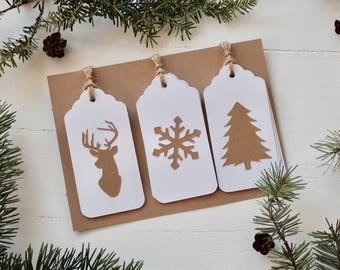 Set of 9 Handmade Christmas Gift Tags - White cardstock with kraft paper